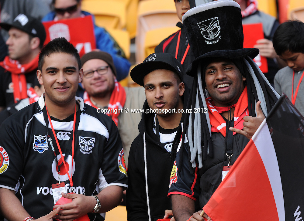 Vodafone Warriors Fans and supporters in the crowd at the Warriors v Raiders match at Mt Smart Stadium on Sunday 2 September 2012. Photo: Andrew Cornaga/photosport.co.nz