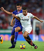 SEVILLE, SPAIN - OCTOBER 28:  Wissam Ben Yedder of Sevilla FC (R) competes for the ball with Gabriel Appelt of CD Leganes (L) during the La Liga match between Sevilla and Leganes at  Estadio Sanchez Pizjuan on October 28, 2017 in Seville, .  (Photo by Aitor Alcalde Colomer/Getty Images)