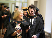 "03/01/2013. Repro Free. Waterford Institute of Technology Conferring 2012. Pictured are Michelle Holland, Kilkenny and Brian Kennedy Tramore, Co. Waterford who graduated in Bachelor of Arts Honours in General Nursing. Picture: Patrick Browne<br /> <br /> Graduates will provide the foundations for a renewed IrelandWIT Conferring CeremonyAt the first of 11 conferring ceremonies across three days during which 2,655 students were conferred with academic degrees up to doctorate level, Dr. Derek O'Byrne, Registrar of Waterford Institute of Technology (WIT), urged the Institute's most recent graduates to have the confidence and self-belief to always take their chances in life and help build a renewed Ireland.In his conferring address, Dr. O'Byrne said, ""We live in a society where knowledge, people and production are dispersed throughout the world, yet are integrally connected. Knowledge transcends national boundaries, traditional disciplines and existing organisations. The major industries of today didn't exist a couple of decades ago and, unsurprisingly, this has impacted hugely on education which is now more firmly than ever associated with employability. While unemployment rates have been consistently running in excess of 14%, the rate for graduates has been half of that and the rate among graduates of WIT is half of that again.""Dr. O'Byrne urged the graduates to celebrate their academic success and acknowledge their future potential as contributors to Ireland's future. He advised graduates to develop the leadership characteristics that they have begun to developed at WIT: ""Adhere to the principles of professional practice, display courage, integrity and principle at all times both in your professional and private lives; renew your skills and knowledge continuously to remain at the cutting edge of your field and become innovators by creating new industries, renewing existing ones or adding value to society.""WIT's Chairman, Dr. Donal Ormonde, continued the posi"