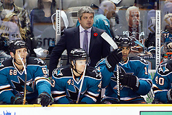 November 9, 2010; San Jose, CA, USA;  San Jose Sharks head coach Todd McLellan on the bench against the Anaheim Ducks during the second period at HP Pavilion. Mandatory Credit: Jason O. Watson / US PRESSWIRE