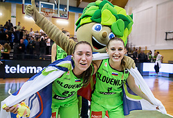 Annamaria Prezelj of Slovenia and Rebeka Abramovic of Slovenia celebrate after winning and qualifying during basketball match between Women National Teams of Slovenia and Lithuania in Qualifications of EuroBasket Women 2017, on November 19, 2016 in Gimnazija Celje, Slovenia. Photo by Vid Ponikvar / Sportida