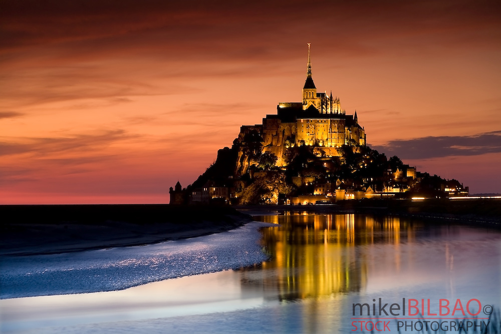 Le Mont St Michel at sunset. Normandy, France.