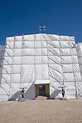 Kauppatori (Market Square). President's Palace undergoing renovation, looking like one of Christo's famous wrappings; changing of the guards.