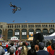 fair - des moines, aug. 21 -- Fairgoers were treated to the thrills of a Freestyle MX Bike Show Sunday on the Grand Concourse.  Bikers flew off of a ramp and did various contortions while in the air.  photo by david peterson  miDes Moines, Ia.