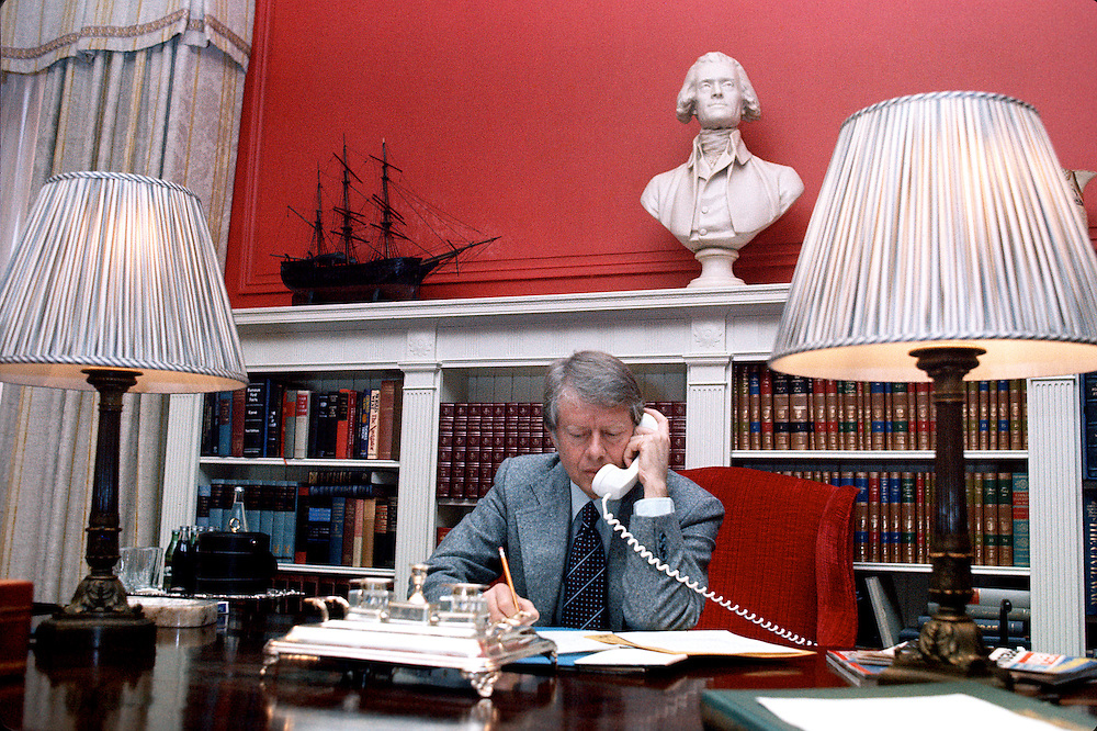 President-elect Jimmy Carter at Blair House in Washington DC, the night before his inauguration January 1977 where he set up office with his transition team. - To license this image, click on the shopping cart below -