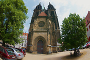 MEISSEN, GERMANY - MAY 22, 2010: Exterior of the cathedral in Meissen, Germany. Filmed with a fish-eye lens.
