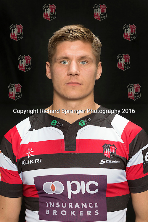Piers Francis.<br /> Headshots of the Counties Manukau Steelers rugby team to compete in the 2016 season of the Mitre 10 Cup Premiership.<br /> Photo credit: www.boprugby.co.nz