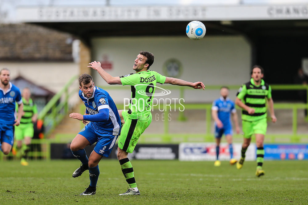 Forest Green Rovers Christian Doidge(9) heads the ball on during the Vanarama National League match between Forest Green Rovers and Macclesfield Town at the New Lawn, Forest Green, United Kingdom on 4 March 2017. Photo by Shane Healey.