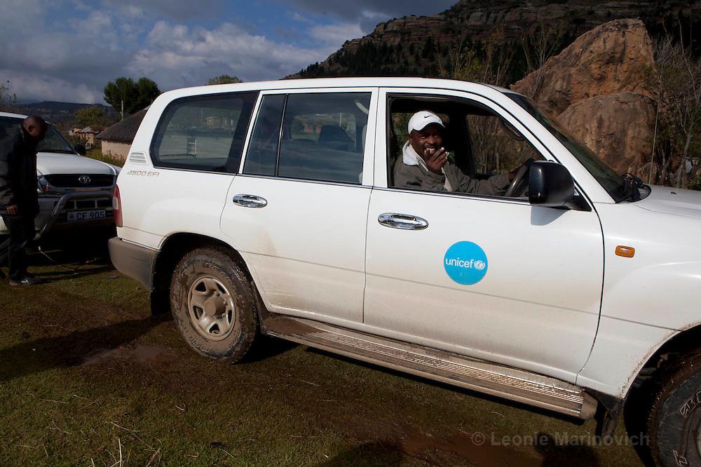 11 May 2011, UNICEF Lesotho. Isaiah towing out the World Vision truck at Matsieng village.
