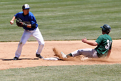 11 May 2013:  Mike Coduto puts out A.J. Nathan at 2nd base during an NCAA division 3 College Conference of Illinois and Wisconsin (CCIW) Pay in Baseball game during the Conference Championship series between the North Park Vikings and the Illinois Wesleyan Titans at Jack Horenberger Stadium, Bloomington IL