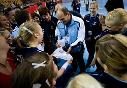 Head coach of Slovenia Ivica Rimanic with an underwear as a present at Women European Championships Qualifying handball match between National Teams of Slovenia and Belarus, on October 17, 2009, in Kodeljevo, Ljubljana.  (Photo by Vid Ponikvar / Sportida)