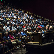 Tom Crouch, Art Thompson and Joe Kittenger take part in a panel discussion about the Stratos project in the IMAX Theater at The Smithsonian National Air and Space Museum in Washington, D.C., USA on 1 April, 2014.
