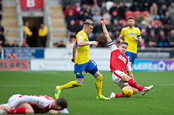 January 26, 2019 - Rotherham, England, United Kingdom - Ezgjan Alioski of Leeds United battles with Will Vaulks of Rotherham United during the Sky Bet Championship match between Rotherham United and Leeds United at the New York Stadium, Rotherham, England, UK, on Saturday 26th January 2019. (Credit Image: © Mark Fletcher/NurPhoto via ZUMA Press)