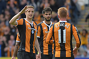 Hull City defender Michael Dawson (21) celebrates Hull City midfielder Sam Clucas (11) Scoring goal to go 1-3  during the Premier League match between Hull City and Tottenham Hotspur at the KCOM Stadium, Kingston upon Hull, England on 21 May 2017. Photo by Ian Lyall.