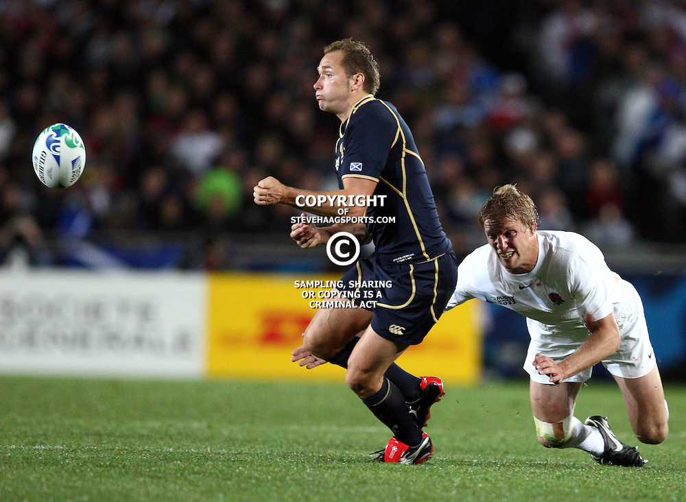 AUCKLAND, NEW ZEALAND - OCTOBER 01, Lewis Moody  looks to make a tackle during the 2011 IRB Rugby World Cup match between England and Scotland at Eden Park on October 01, 2011 in Auckland, New Zealand<br /> Photo by Steve Haag / Gallo Images