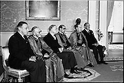 17/08/1962<br /> 08/17/1962<br /> 17 August 1962<br /> New Papal Nuncio presents credentials to the President at Aras an Uachtarain. The new Papal Nuncio His Excellency the Most Rev. Giuseppe Sensi, Titular Archbishop of Sardi. presented his Letter of Credence to President Eamon de Valera at the ceremony. Picture shows (l-r): Mr Sean Lemass, Taoiseach; Cardinal D'Alton; President de Valera; the new Nuncio; Most Rev. Dr McQuaid, Archbishop of Dublin and Mr Frank Aiken, Minister for External Affairs, at the ceremony.