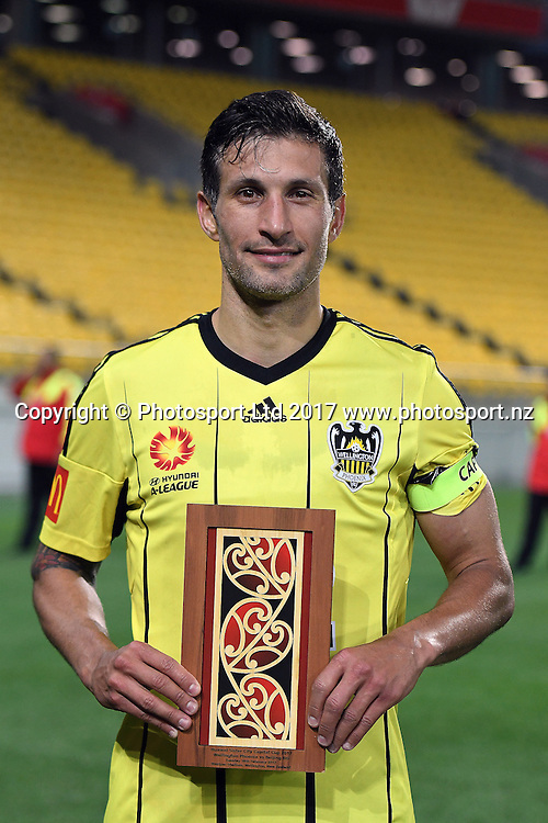 Stand in skipper Vince Lia with the trophy after their victory at the Huawei Mobile Sister City Cup, Wellington Phoenix vs Beijing BG, Westpac Stadium, Wellington, Tuesday 13th February 2017. Copyright Photo: Raghavan Venugopal / www.photosport.nz