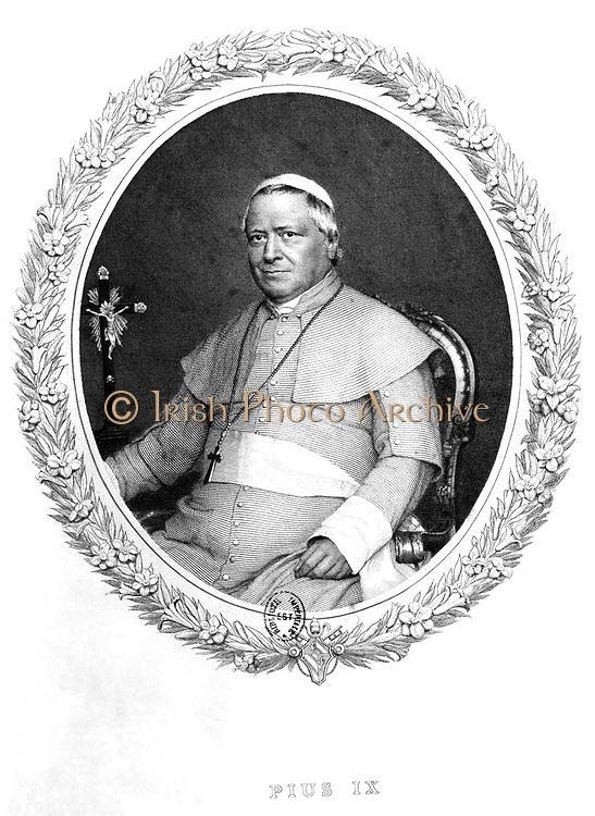 Pius IX (Giovanni Maria Mastai Ferretti - 1792-1878) Pope from 1846. Engraving after a photograph.