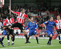 Photo: Lee Earle.<br /> Brentford v Bradford City. Coca Cola League 1. 02/09/2006. Brentford's Kevin O'Connor heads home their first.