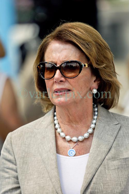 29 August 2015. Lower 9th Ward, New Orleans, Louisiana.<br /> Hurricane Katrina 10th anniversary memorials.  <br /> Congresswoman Nancy Pelosi attends the memorial. <br /> Photo credit&copy;; Charlie Varley/varleypix.com.