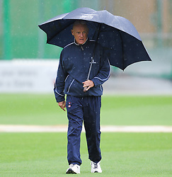 Umpire Jeff Evans walks off after abandoning the game - Mandatory byline: Alex Davidson/JMP - 07966386802 - 24/08/2015 - Cricket - County Ground -Taunton,England - Somerset CCC v Worcestershire CCC - LV= County Championship Division One - Day 4
