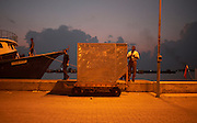 A Sri Lankan Airlines cargo inspector checks an aircraft container of tuna fish on a harbour quay before loading.
