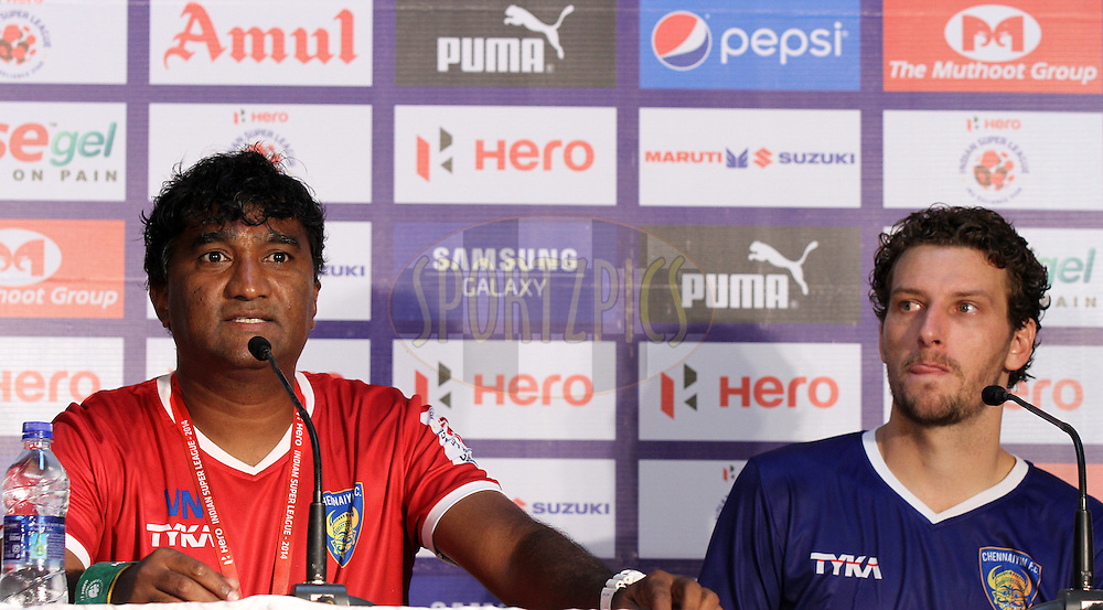 Elano Blumer of Chennaiyin FC during the press conference of  match 15 of the Hero Indian Super League between Chennaiyin FC and Mumbai City FC held at the Jawaharlal Nehru Stadium, Chennai, India on the 28th October 2014.<br /> <br /> Photo by:  Vipin Pawar/ ISL/ SPORTZPICS