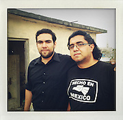 Painter Oscar Tijerina and Photographer Tochirock Gallegos in Reynosa, Mexico..My journey along the border from Brownsville and Matamoros to Juarez and El Paso..www.stefanfalke.com..