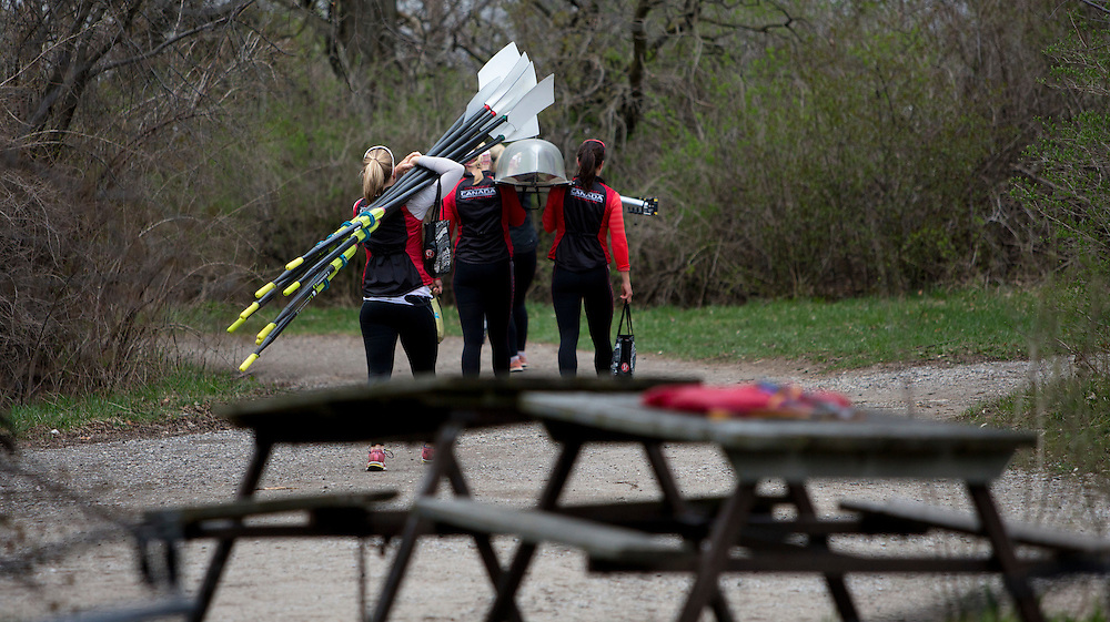 Lisa Roman, Cristy Nurse, Natalie Mastracci, Susanne Grainger, Antje von Seydlitz-Kurzbach, Christine Roper, Ashley Brzozowicz, Lauren Wilkinson and Lesley Thompson-Willie members of the 2016 Canadian Olympic Rowing Team in the Women's Eight train at Lake Fanshawe in London, Ontario Canada on April 25th, 2016.