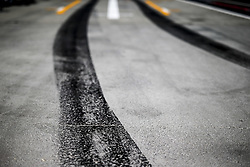 July 27, 2018 - Budapest, Hungary - Motorsports: FIA Formula One World Championship 2018, Grand Prix of Hungary, .track, Rennstrecke, tyres marks, skidmarks, Fahrbahn, Bremsspur, Bremsspuren, Strecke, Gummi, Spur, Reifenspuren, Reifenspur, Streifen, Asphalt, Abrieb, Gummi, marks  (Credit Image: © Hoch Zwei via ZUMA Wire)