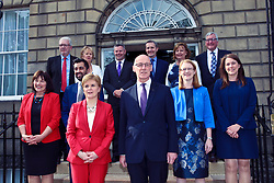 First Minister reveals her new Cabinet on the steps of Bute House, Edinburgh (left to right) (back): Michael Russell, Roseanna Cunningham, Derek Mackay, Michael Matheson, Fiona Hyslop, Fergus Ewing; (middle): Jeane Freeman, Humza Yousaf, Shirley-Anne Somerville, Aileen Campbell; (Front): Nicola Sturgeon, John Swinney. Pic copyright Terry Murden @edinburghelitemedia