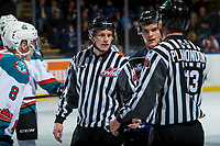 KELOWNA, CANADA - DECEMBER 30: Linesman Dave McMahon speaks to Tim Plamondon at the Kelowna Rockets against the Victoria Royals on December 30, 2017 at Prospera Place in Kelowna, British Columbia, Canada.  (Photo by Marissa Baecker/Shoot the Breeze)  *** Local Caption ***