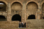 Rome jan 27th 2016, the president of Islamic Republic of Iran visits the Flavian Amphitheater. In the picture Hassan Rouhani