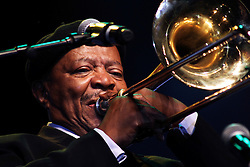 DURBAN - 6 January 2012 - South African jazz legend Jonas Gwangwa performs at the Chief Albert Luthuli International Convention centre in Durban at the closing ceremony for the party's centenary celebrations. Picture: Allied Picture Press/APP