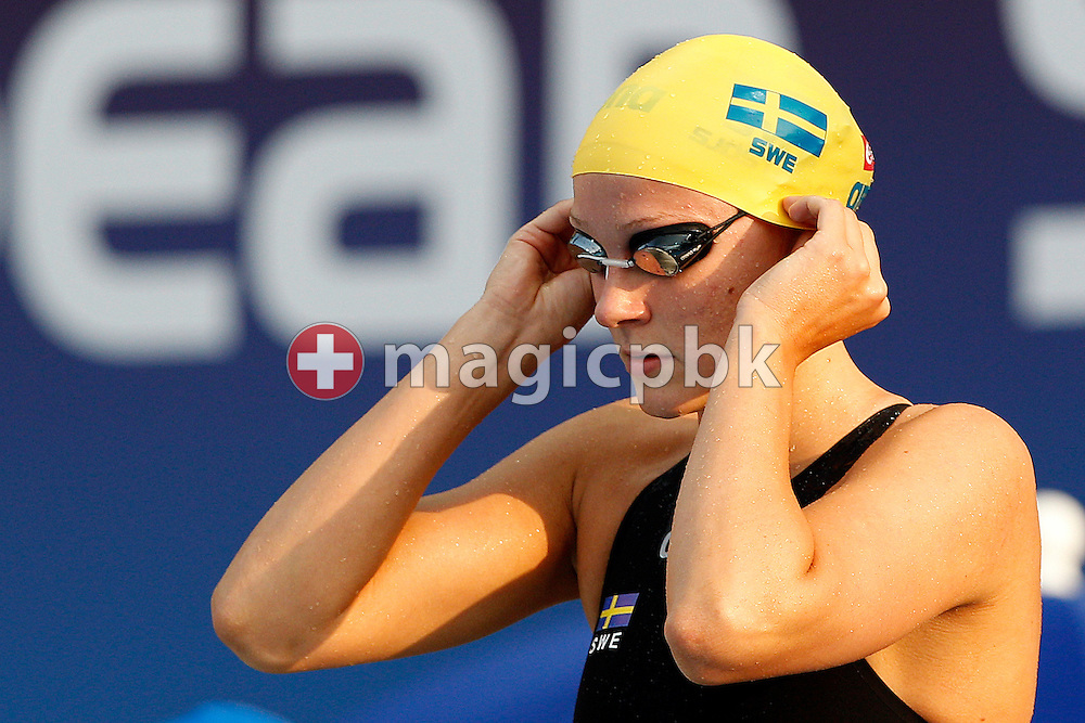 Sarah SJOSTROM of Sweden prepares herself before swimming the final leg in the women's 4x100m Medley Relay Final at the European Swimming Championship at the Hajos Alfred Swimming complex in Budapest, Hungary, Sunday, Aug. 15, 2010. (Photo by Patrick B. Kraemer / MAGICPBK)