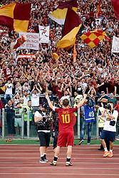 AS Roma vs Genoa as part of the Calcio Series A held at the Stadio Olimpico in Rome, Italy. 28 May 2017 Pictured: Francesco Totti waves the fans Saluto ai tifosi Last Match of Francesco Totti. Ultima Partita di Francesco Totti. Photo credit: Insidefoto / MEGA TheMegaAgency.com +1 888 505 6342