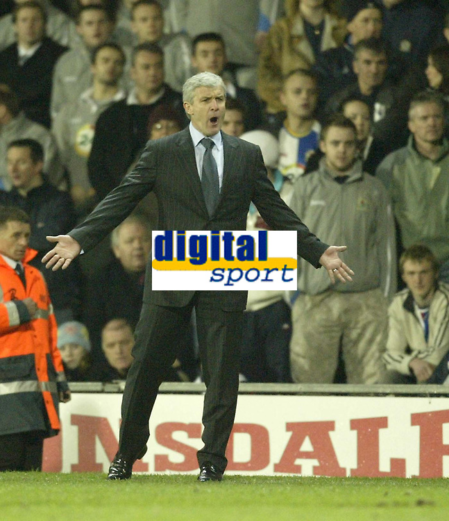 Photo: Aidan Ellis.<br /> Blackburn Rovers v Bayer Leverkusen. UEFA Cup, 2nd Leg. 22/02/2007.<br /> Rovers boss Mark Hughes lets his feelings known to the referee