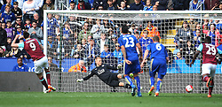 Andy Carroll of West Ham United (L) scores his sides first goal from the penalty spot - Mandatory by-line: Jack Phillips/JMP - 17/04/2016 - FOOTBALL - King Power Stadium - Leicester, England - Leicester City v West Ham United - Barclays Premier League