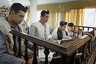 Tehran, Iran. October 22, 2007-Jewish students recite prayers at early morning service at Abrishami Synagogue.