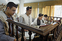 Tehran, Iran. October 22, 2007-Jewish students recite prayers at early morning service at Abrishami Synagogue.