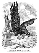 """""""Swooping from the west."""" [It is the intention of our new ally to assist us in the patrolling of the Atlantic.]"""