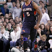 10 May 2012: Atlanta Hawks power forward Josh Smith (5) celebrates during the Boston Celtics 83-80 victory over the Atlanta Hawks, in Game 6 of the Eastern Conference first-round playoff series, at the TD Banknorth Garden, Boston, Massachusetts, USA.