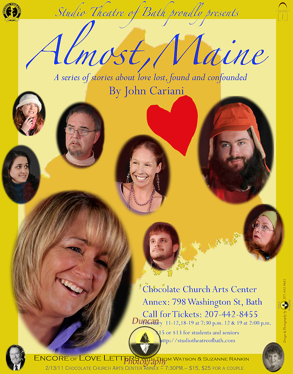 Design for Chocolate Church Arts Center Almost Maine show by Studio Theatre of Bath