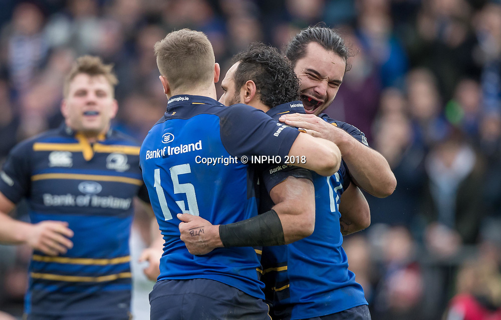 European Rugby Champions Cup Round 5, RDS, Dublin 14/1/2018<br /> Leinster vs Glasgow Warriors<br /> Leinster's James Lowe and Jordan Larmour celebrate with try scorer Isa Nacewa<br /> Mandatory Credit &copy;INPHO/Morgan Treacy
