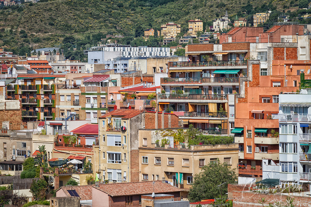Spain, Barcelona, Grácia. Apartments in the Vallcarca i els Penitents neighborhood.