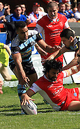 Ade Gardner (floor) of Hull Kingston Rovers scores his teams 4th try of the game during the First Utility Super League match at the KC Lightstream Stadium, Kingston upon Hull<br /> Picture by Richard Gould/Focus Images Ltd +44 7855 403186<br /> 25/05/2014