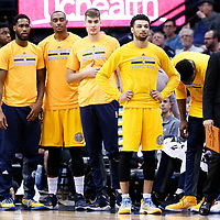 10 March 2017: Denver Nuggets guard Gary Harris (14), Denver Nuggets forward Juancho Hernangomez (41)m Denver Nuggets forward Darrell Arthur (00) Denver Nuggets guard Will Barton (5) and Denver Nuggets guard Emmanuel Mudiay (0) are seen during the Denver Nuggets 119-99 victory over the Boston Celtics, at the Pepsi Center, Denver, Colorado, USA.