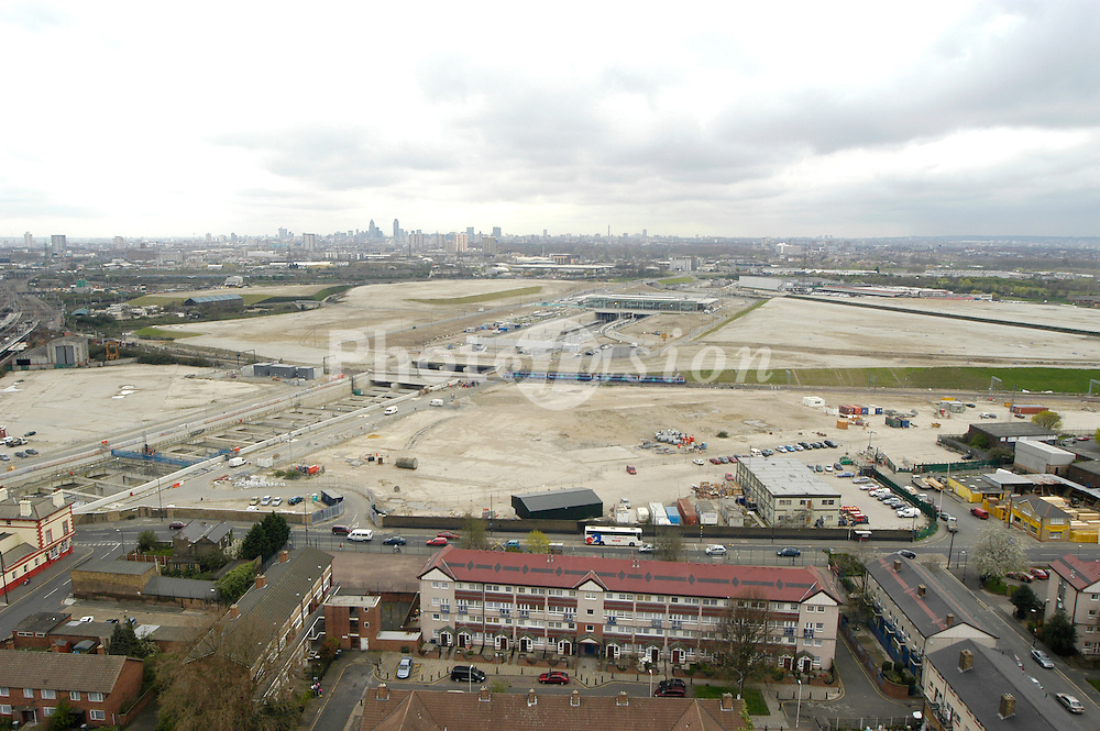 Site of construction of stadiums for 2012 London Olympic Games & new International train station which will provide transport links to Europe with Eurostar, Stratford; London Borough of Newham, Hackney & City of London in background UK 2006