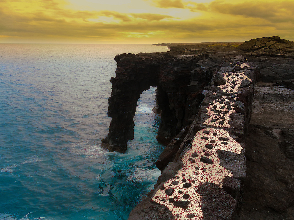 This is the Holei Sea Arch is located in the Volcanoes NP, in Hawaii.