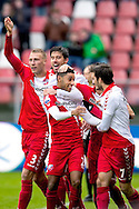 Onderwerp/Subject: FC Utrecht - Eredivisie<br /> Reklame:  <br /> Club/Team/Country: <br /> Seizoen/Season: 2012/2013<br /> FOTO/PHOTO: Anouar KALI (C) of FC Utrecht celebrating his goal with Mike VAN DER HOORN (LL) of FC Utrecht and Jan WUYTENS (L) of FC Utrecht and Edouard DUPLAN (RR) of FC Utrecht and Mark VAN DER MAAREL (R) of FC Utrecht ( 1 - 0 ). (Photo by PICS UNITED)<br /> <br /> Trefwoorden/Keywords: <br /> #02 $94 ±1354626289759<br /> Photo- & Copyrights © PICS UNITED <br /> P.O. Box 7164 - 5605 BE  EINDHOVEN (THE NETHERLANDS) <br /> Phone +31 (0)40 296 28 00 <br /> Fax +31 (0) 40 248 47 43 <br /> http://www.pics-united.com <br /> e-mail : sales@pics-united.com (If you would like to raise any issues regarding any aspects of products / service of PICS UNITED) or <br /> e-mail : sales@pics-united.com   <br /> <br /> ATTENTIE: <br /> Publicatie ook bij aanbieding door derden is slechts toegestaan na verkregen toestemming van Pics United. <br /> VOLLEDIGE NAAMSVERMELDING IS VERPLICHT! (© PICS UNITED/Naam Fotograaf, zie veld 4 van de bestandsinfo 'credits') <br /> ATTENTION:  <br /> © Pics United. Reproduction/publication of this photo by any parties is only permitted after authorisation is sought and obtained from  PICS UNITED- THE NETHERLANDS
